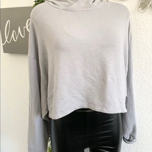 Fabletics grey hooded cropped sweatshirt
